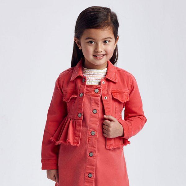 Dievčenská rifľová bunda s volánom Mayoral červená   Welcomebaby.sk