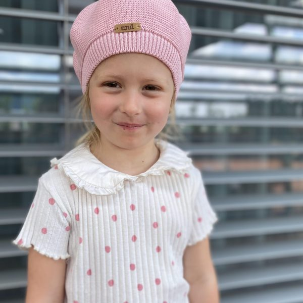 Dievčenská pletená baretka bez brmbolca Cóndor ružová | Welcomebaby.sk