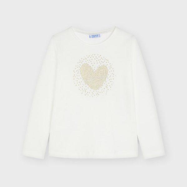 Dievčenské maslové tričko s dlhým rukávom a zlatým srdcom Mayoral | Welcomebaby.sk