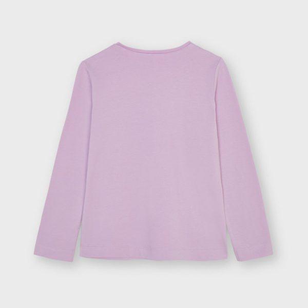 Dievčenské fialové tričko s dlhým rukávom a strieborným srdcom Mayoral | Welcomebaby.sk