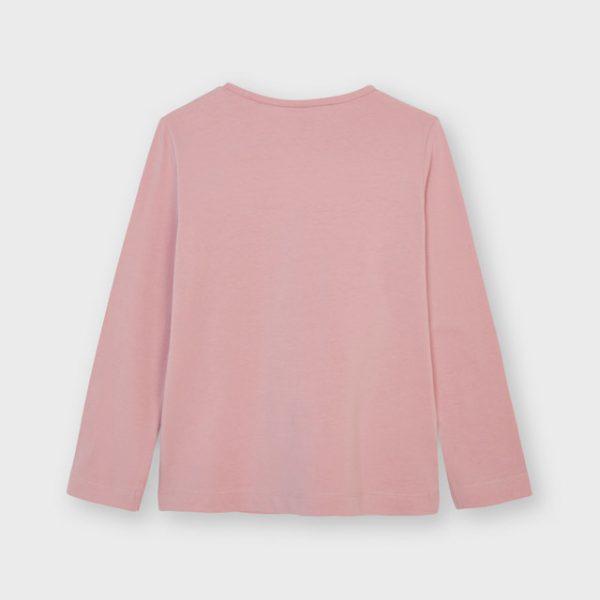 Dievčenské ružové tričko s dlhým rukávom a strieborným srdcom Mayoral | Welcomebaby.sk