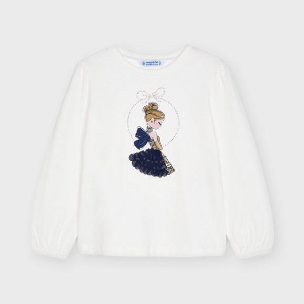 Dievčenské tričko s dlhým rukávom a postavičkou v 3D sukni Mayoral biela/modrá | Welcomebaby.sk