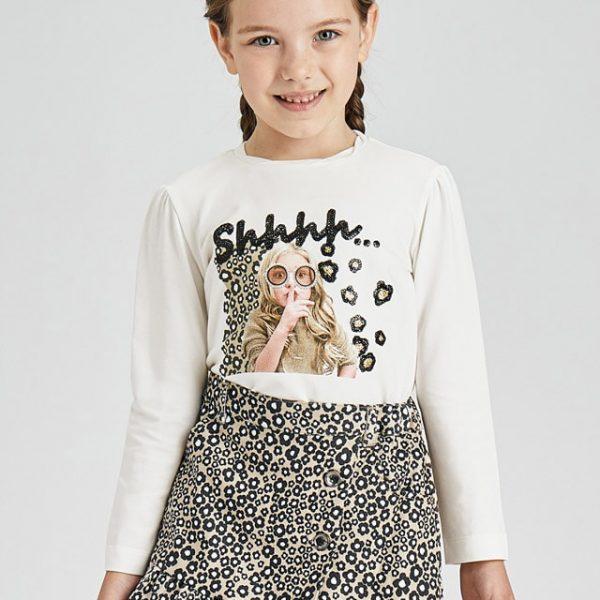 Dievčenské tričko s dlhým rukávom a potlačou blond dievčatko Mayoral maslové | Welcomebaby.sk
