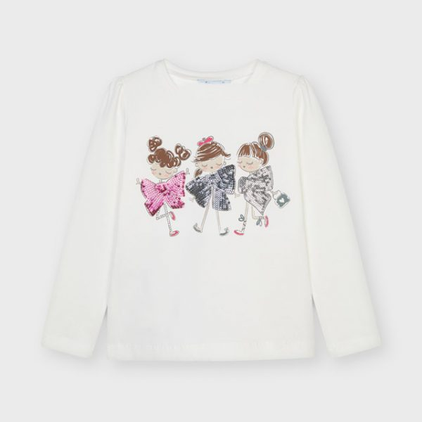 Dievčenské tričko s dlhým rukávom postavičky a mašličky s flitrami Mayoral biele | Welcomebaby.sk