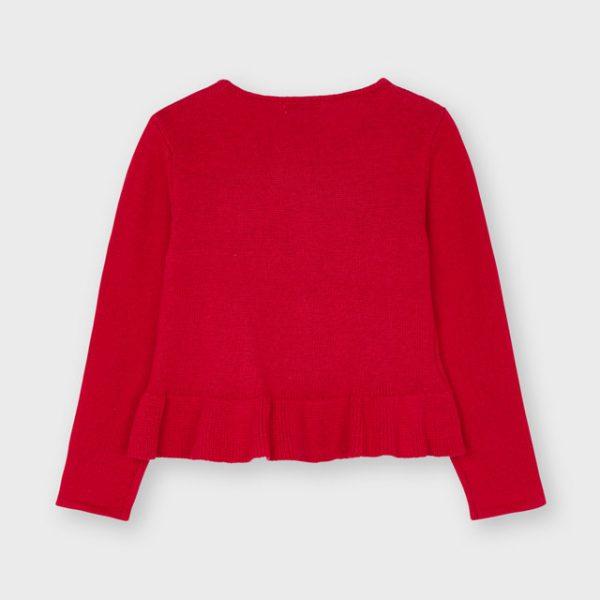 Dievčenský pletený sveter s volánom a vybíjanými guličkami Mayoral červený | Welcomebaby.sk