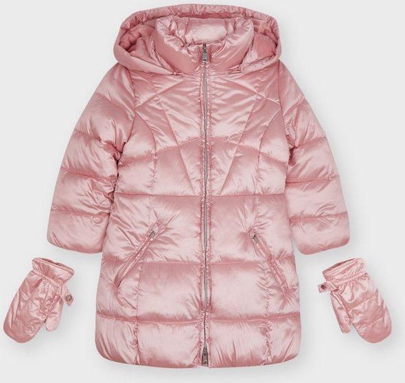 Dievčenská predĺžená zimná bunda s rukavicami Mayoral ružová | Welcomebaby.sk