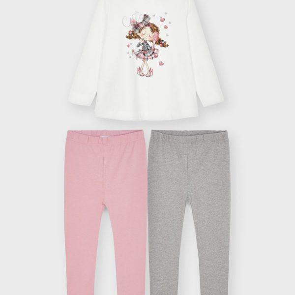 Legíny/Legínový set s tričkom, obrázkom a 3D mašľou Mayoral baby ružová | Welcomebaby.sk