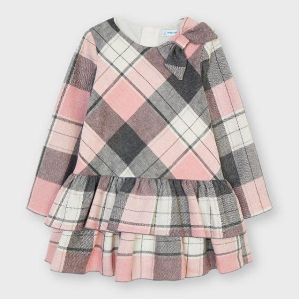 Kárované nazbierané teplé šaty s dlhým rukávom Mayoral ružové | Welcomebaby.sk