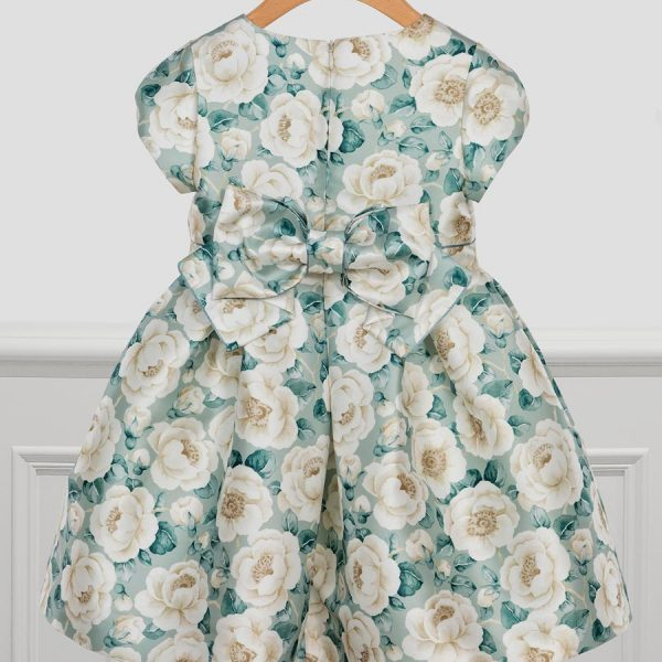 Luxusné šaty na svadbu s veľkými krémovými kvetmi a mašľou Abel & Lula zelené jade | Welcomebaby.sk