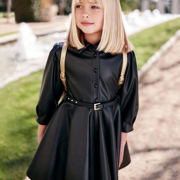 Elegantné čierne koženkové šaty s dlhým rukávom a vybíjaným opasok Abel & Lula | Welcomebaby.sk