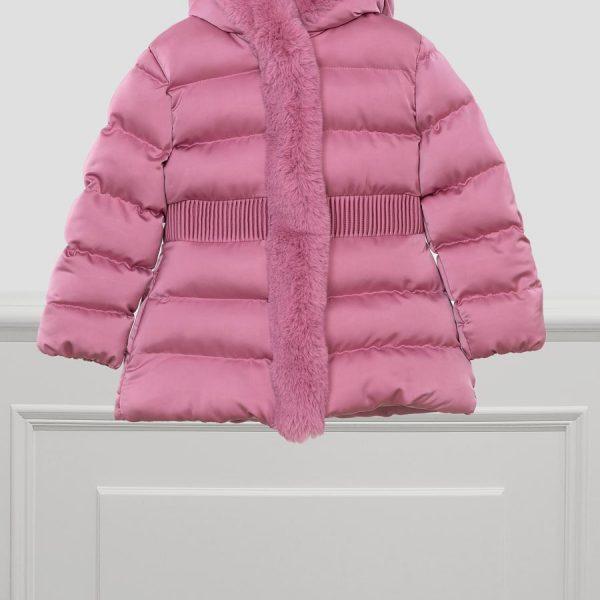Saténová bunda s kožušinou Abel & Lula ružová | Welcomebaby.sk