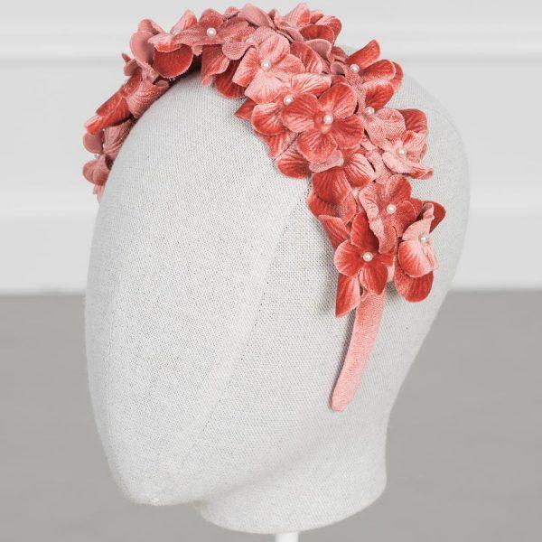 Velvet kvetovaná čelenka s malými kvetmi Abel & Lula ruzova blush colorete | Welcomebaby.sk