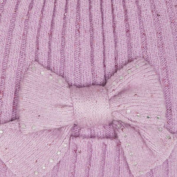 Dievčenská pletená čiapka s mašľou, šál a rukavice Mayoral fialová | Welcomebaby.sk
