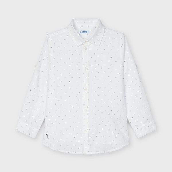 Chlapčenská ľanová bodkovaná košeľa Mayoral biela   Welcomebaby.sk