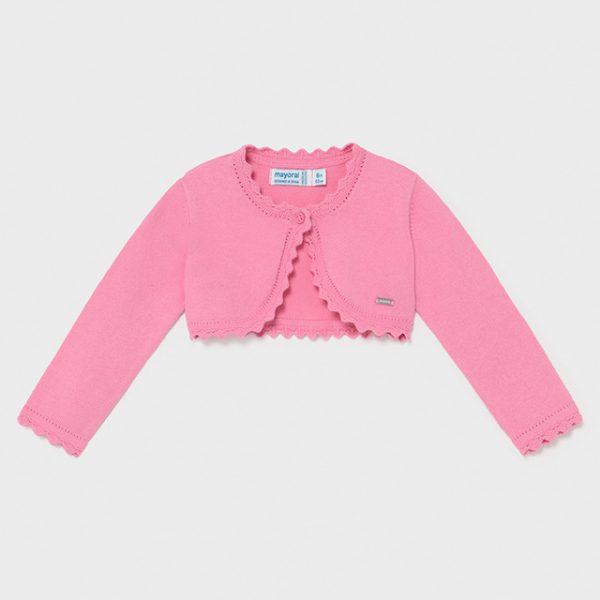 Dievčenské bolerko s jemným vzorom a zvlneným dizajnom Mayoral ružové/camelia   Welcomebaby.sk