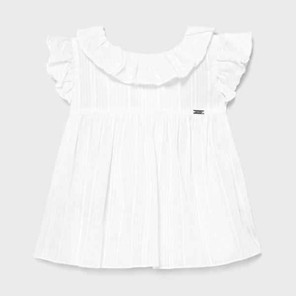 Dievčenská tunika/blúzka s volánom pri krku a na rukávoch Mayoral biela   Welcomebaby.sk