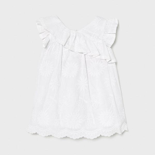 Vyšívané volánové voľné šaty Mayoral biele   Welcomebaby.sk