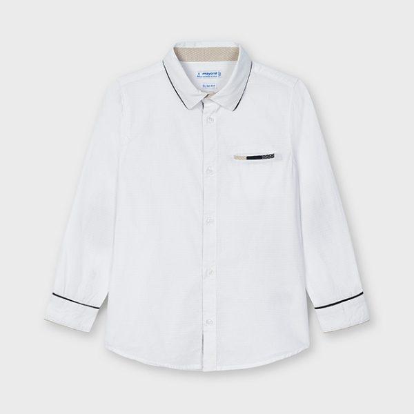 Chlapčenská košeľa s dlhým rukávom, jemným vzorom a záplatami Mayoral biela   Welcomebaby.sk