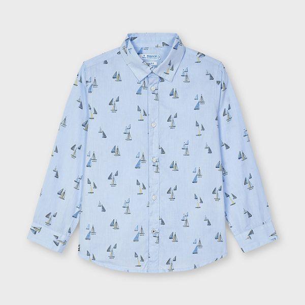 Chlapčenská košeľa s dlhým rukávmi a potlačou plachetníc Mayoral svetlomodrá   Welcomebaby.sk