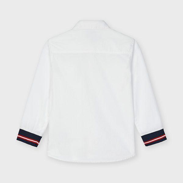Chlapčenská košeľa s dlhým rukávom a tmavomodrými manžetami Mayoral biela   Welcomebaby.sk