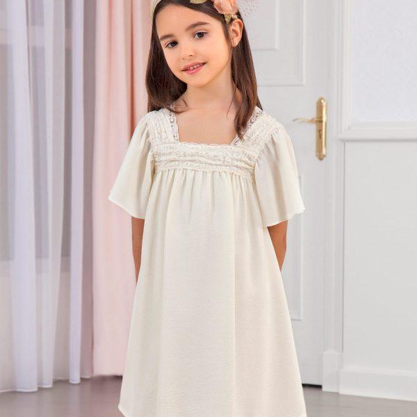 Krepové šaty s výšivkou, čipkou a krásnou mašľou vzadu Abel & Lula krémové | Welcomebaby.sk
