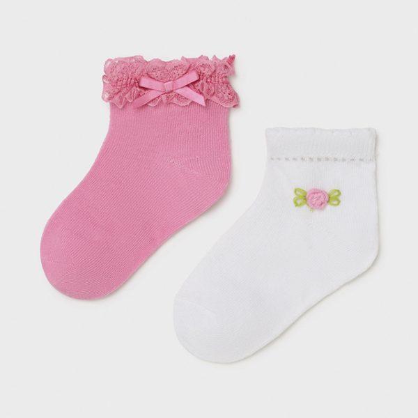 Dievčenské ponožky 2set baby girl Mayoral biele/ružové | Welcomebaby.sk