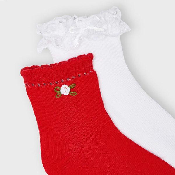 Dievčenské ponožky 2set Mayoral biele s volánom/červené s kvetom | Welcomebaby.sk