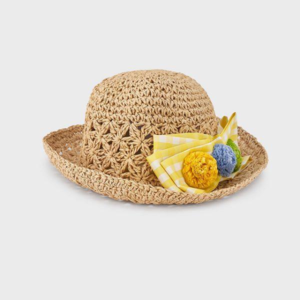 Dievčenský slamený klobúk so žltou mašľou Mayoral žltý   Welcomebaby.sk
