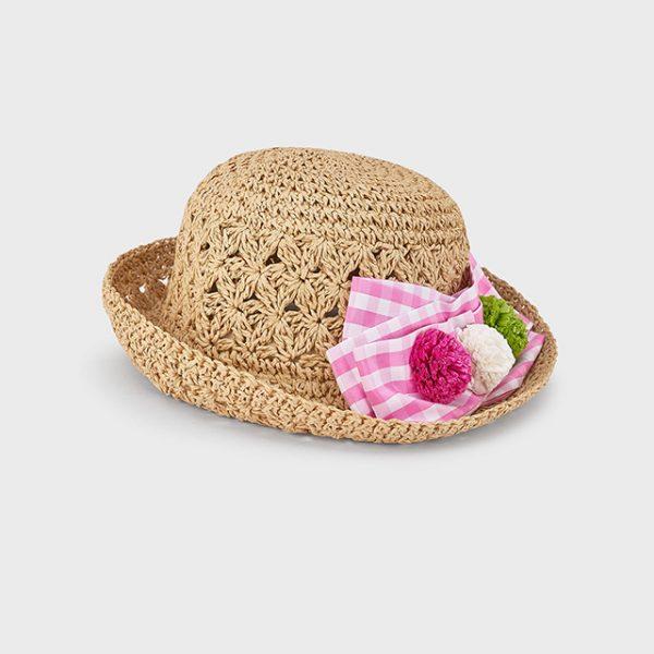 Dievčenský slamený klobúk s ružovou mašľou Mayoral   Welcomebaby.sk