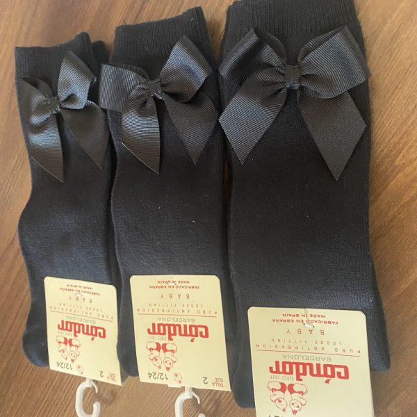 Bavlnené hladké podkolienky so saténovou mašľou Cóndor čierne | Welcomebaby.sk