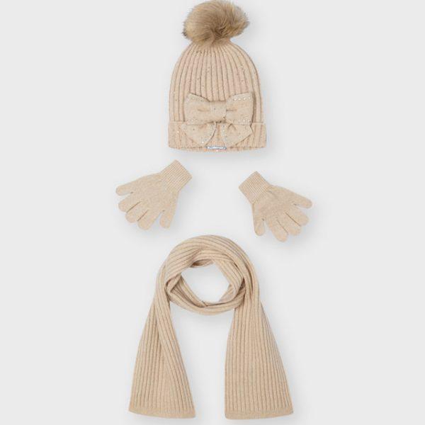 Dievčenská pletená čiapka s mašľou, šálom a rukavicami Mayoral béžová | Welcomebaby.sk