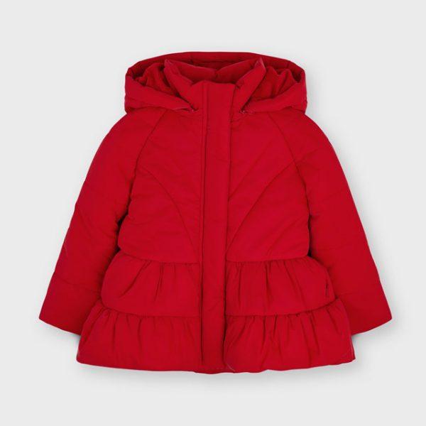 Dievčenská bunda dolu rozšírená nazbieraná Mayoral červená | Welcomebaby.sk