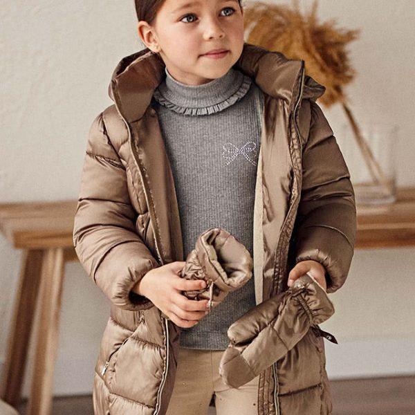 Dievčenská predĺžená zimná bunda s rukavicami Mayoral hnedá | Welcomebaby.sk
