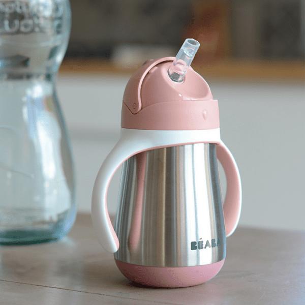 Nerezová termofľaša na pitie pre dievčatá so slamkou Béaba ružová   Welcomebaby.sk